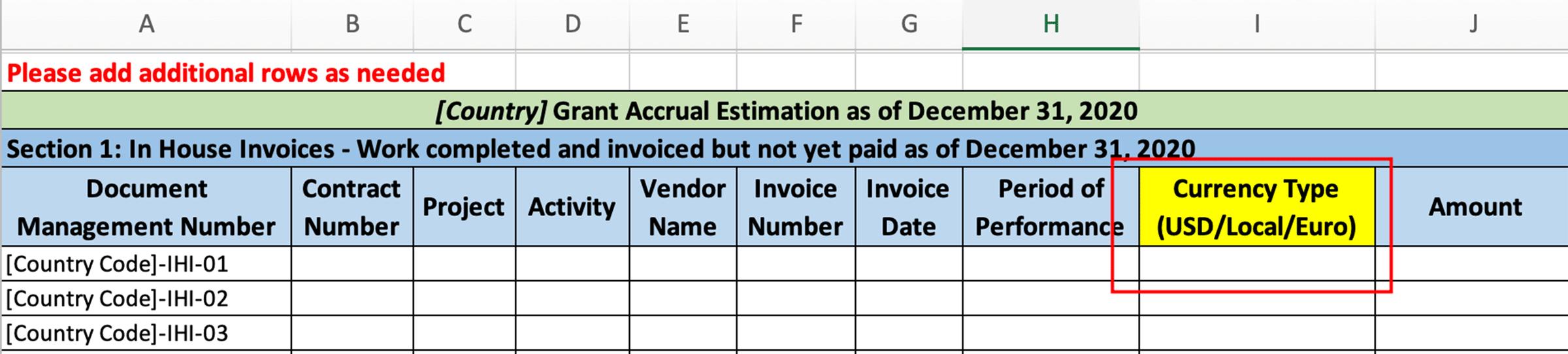 "Column ""J"" invoice Gross Amount"