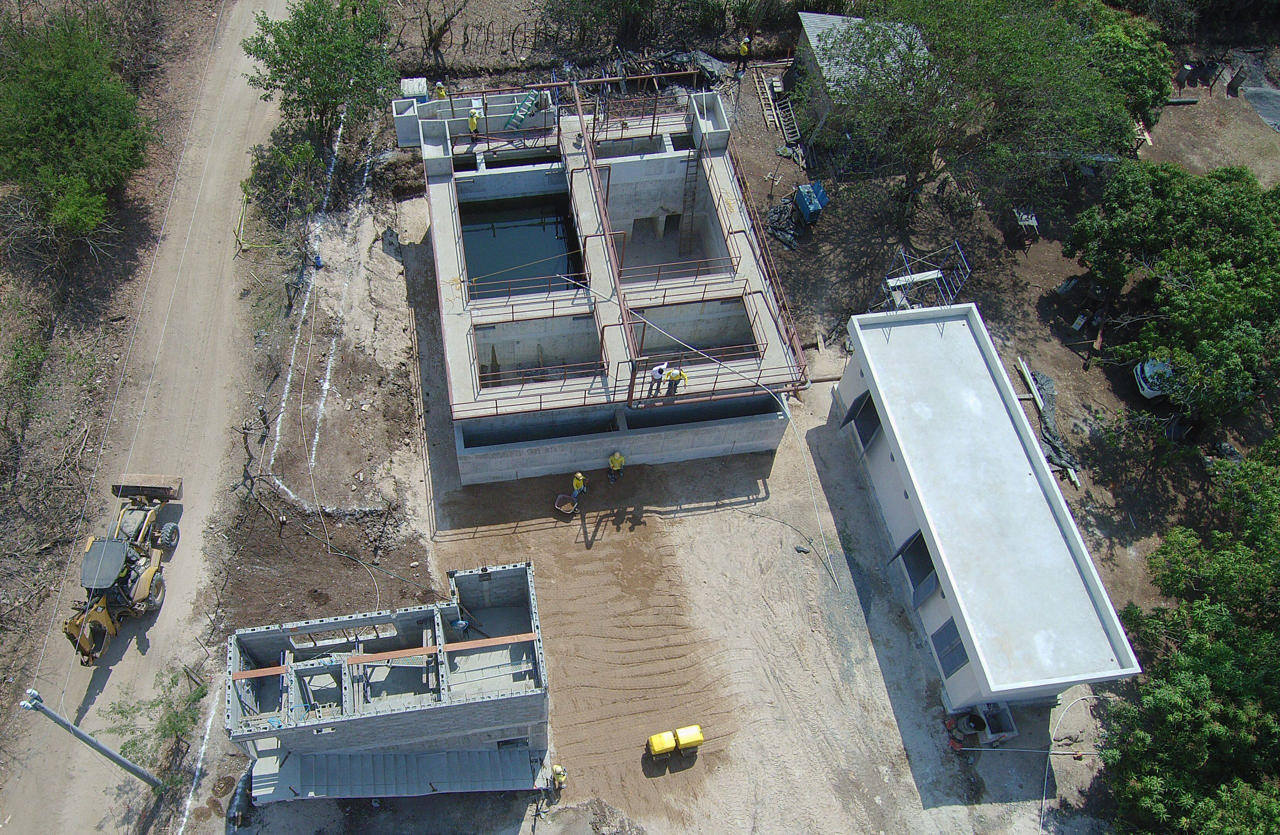 Aerial view of construction of the El Zonte Water Treatment Plant, El Salvador.