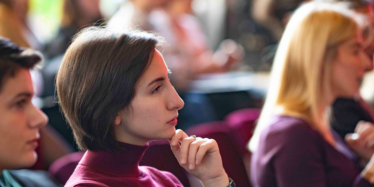Photo of a young woman attending the launch of the Women in Energy scholarship program in Pristina, Kosovo on February 20, 2019.